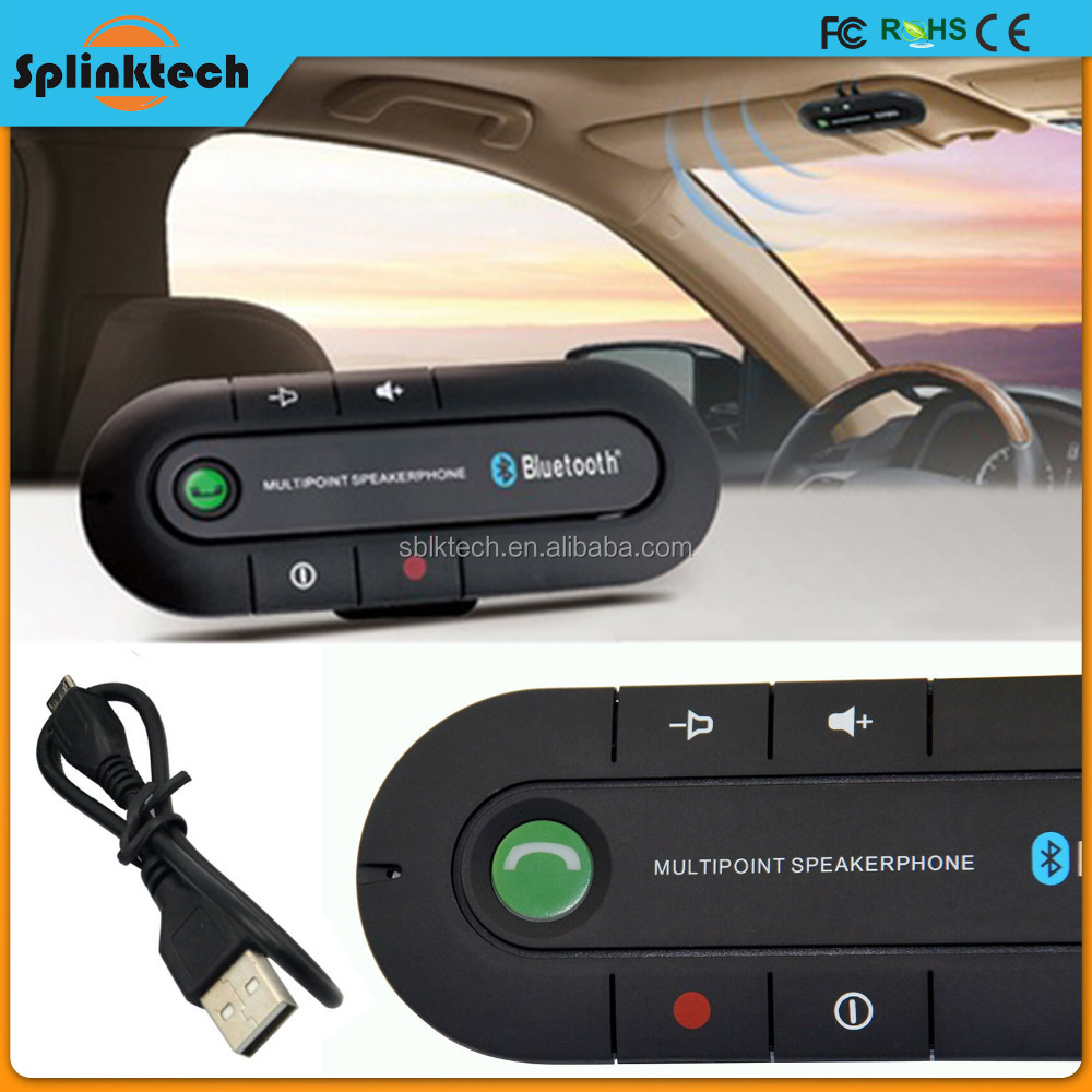 New Wireless Bluetooth Car Handsfree Speakerphone Speaker Phone Hands Free Car Kit fixed on Sun Visor Clip