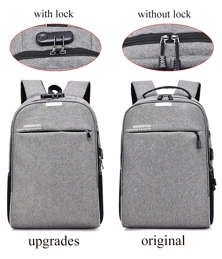 Multifunctional laptop anti theft bag waterproof back pack USB port backpack with coded lock for man