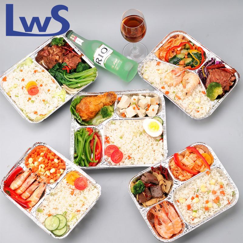 2 compartments aluminum foil food tray