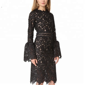 2018 Alibaba new spring designs ladies fashion bell sleeve dresses elegant lace black dress for women