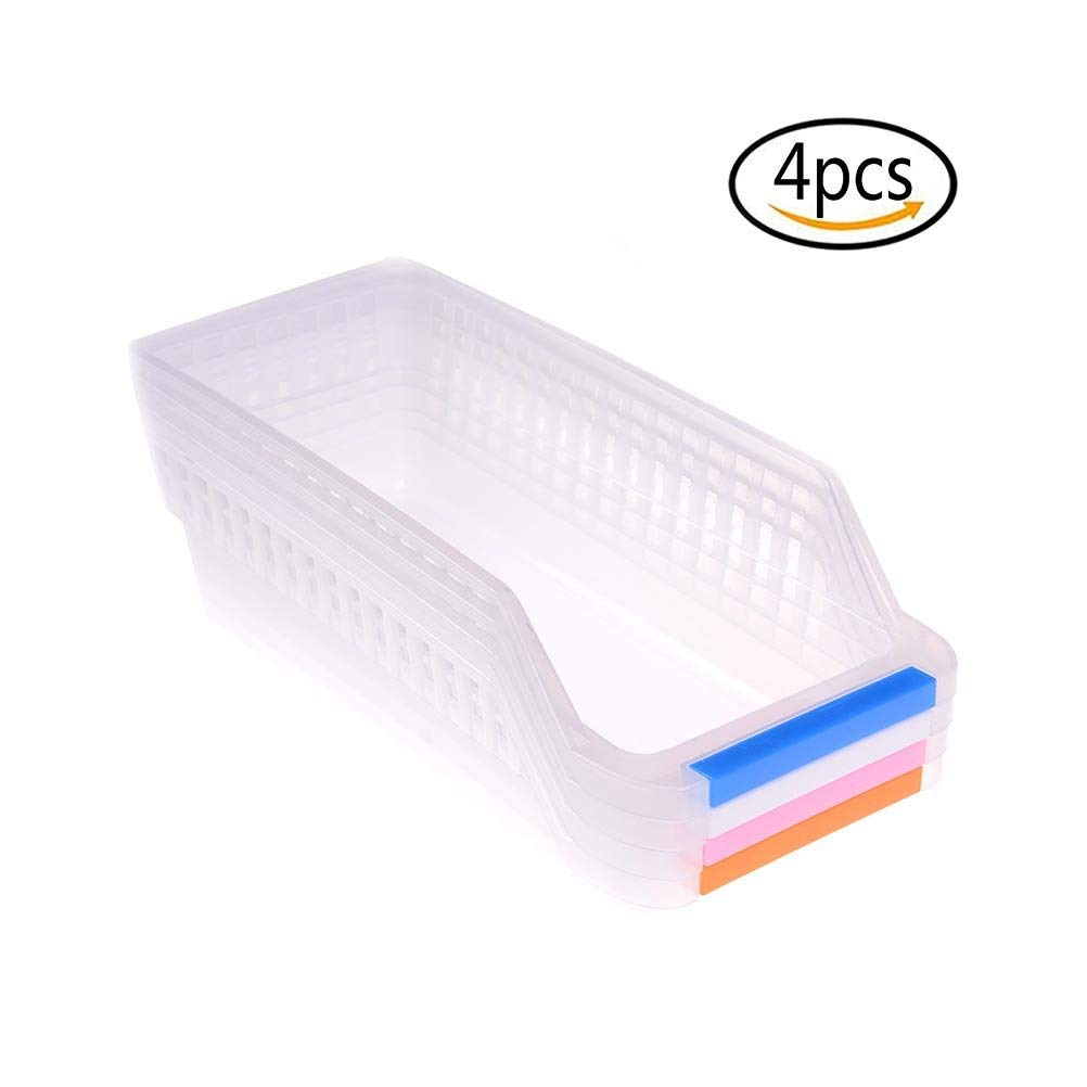 4Pcs Plastic Fridge Bins and Freezer Organizer Refrigerator Bins Storage Containers Fruit Handled Kitchen Collecting Box Basket Rack Stand Basket Container,Random Color