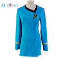 Star Trek Duty Uniform TOS Blue Dress Party Halloween Cosplay Costumes For Women Badge Hot Sale