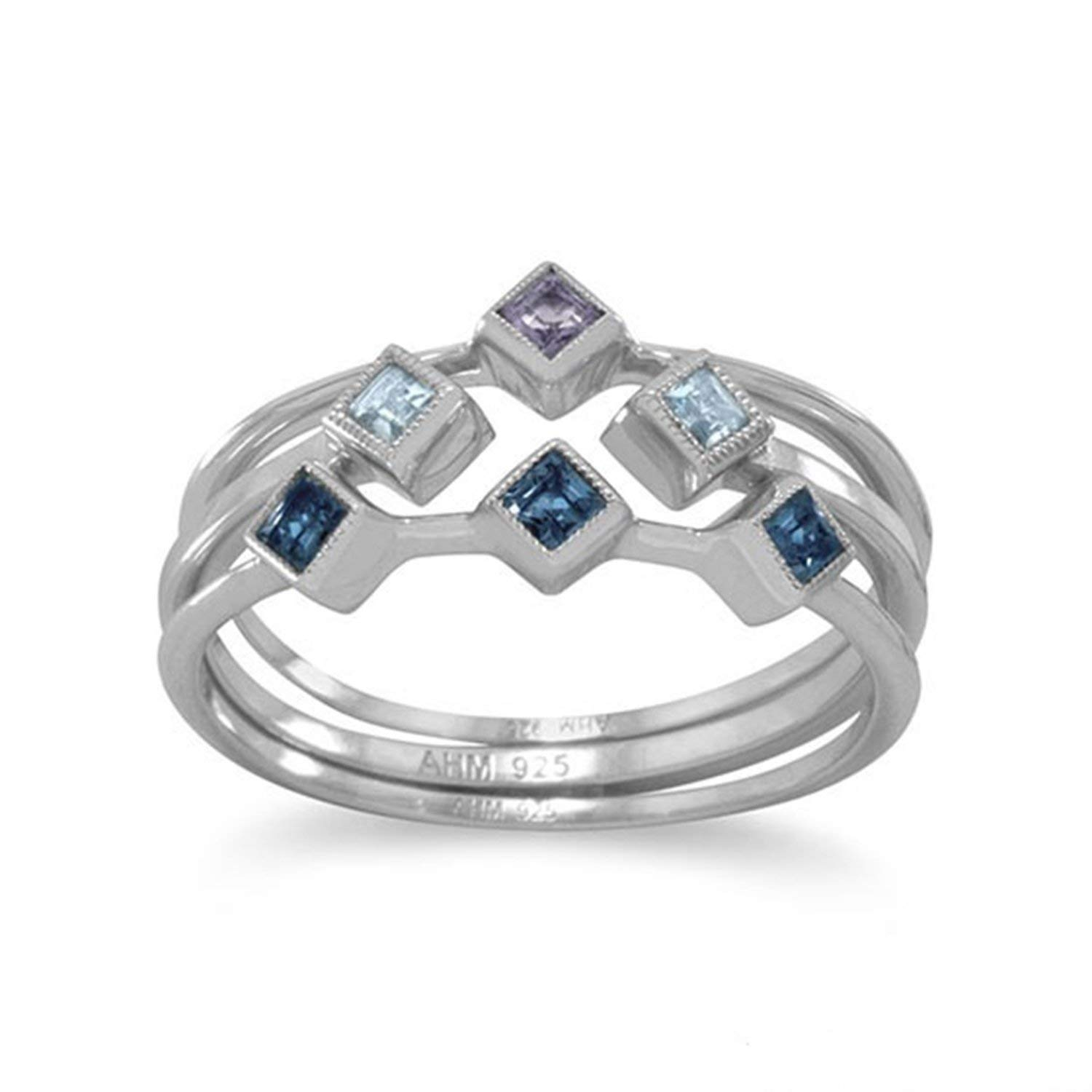 Solitaire Jeweled Rings 925 Sterling Silver Liara Polished Nickel Free