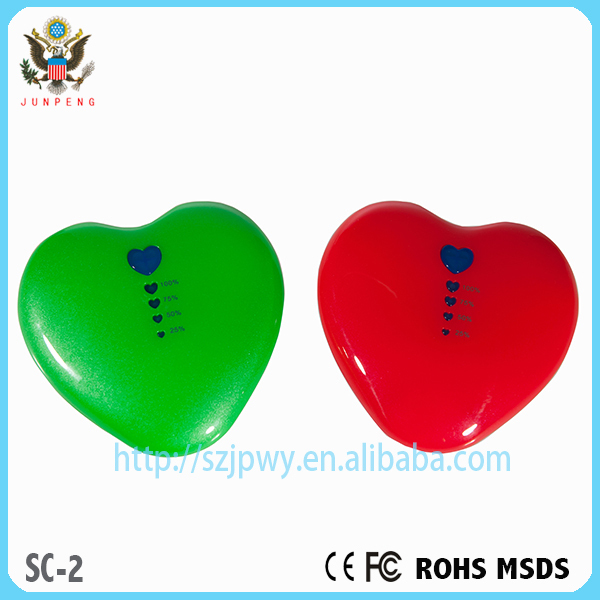 The Chinese market innovation heart-shaped 5200 mah & 5600 mahabs materials mobile charging treasure