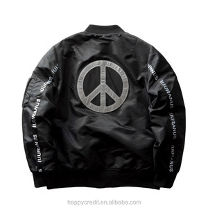 Mens Winter College Varsity Bomber Jacket Safety 3M Reflective Jacket with Peace Sign