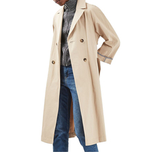European style long trench coat double-breasted closure coat for winter
