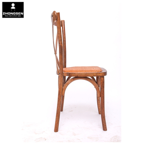 Banquet hotel oak wood stacking cross back chair