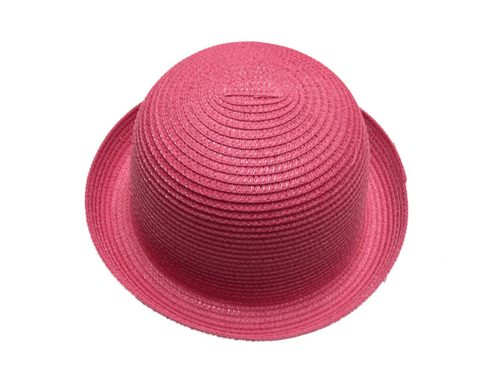 4a1cb038b0e Get Quotations · Women olid volume brimmed straw sun hat bowler Derby hat