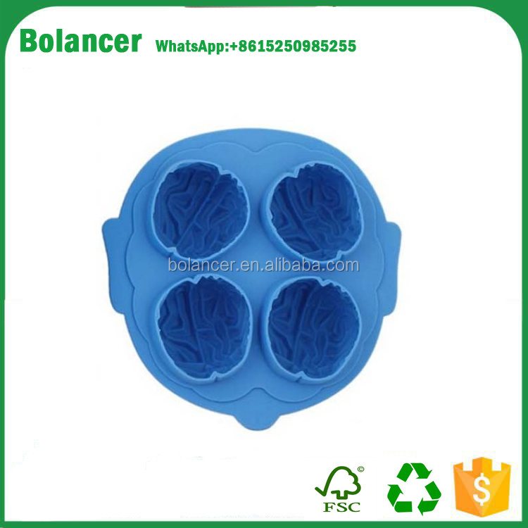 food grade custom high quality silicone brain freeze ice cube tray