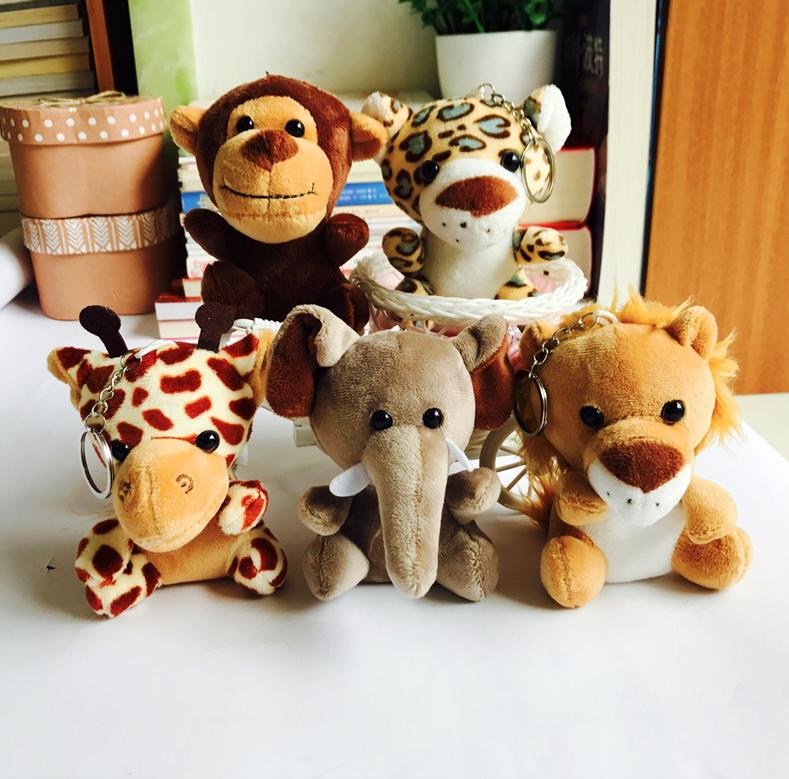 Mini Monkey Tiger Giraffe Lion Elephant Stuffed Forest Animal Toys
