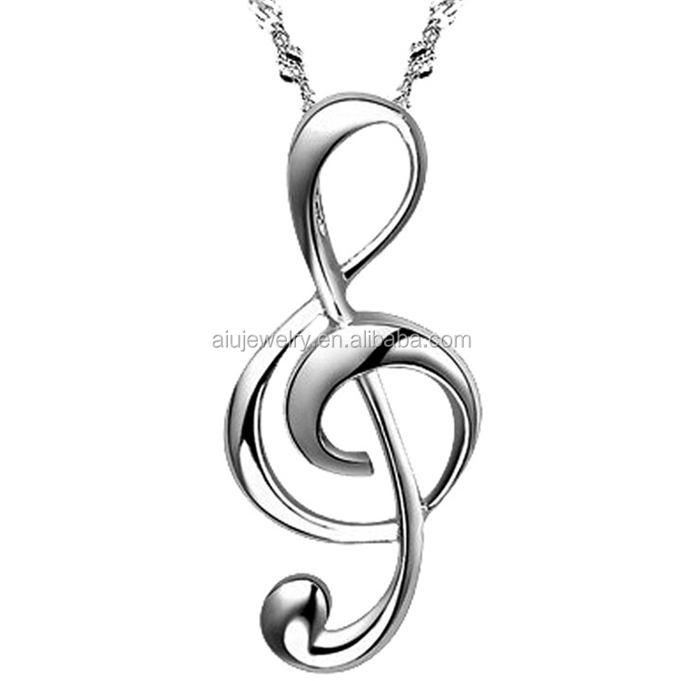 sterling silver music note treble clef <strong>pendant</strong>