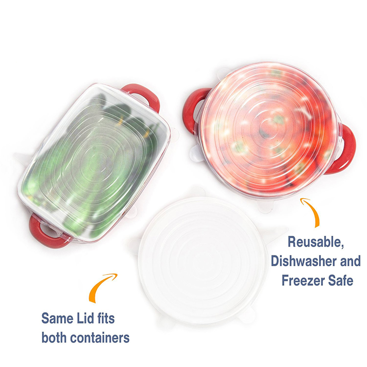 6-Pack LFGB Food Grade Lid-bowl Pan Food Storage Cover Silicone Stretch Wrap Lids