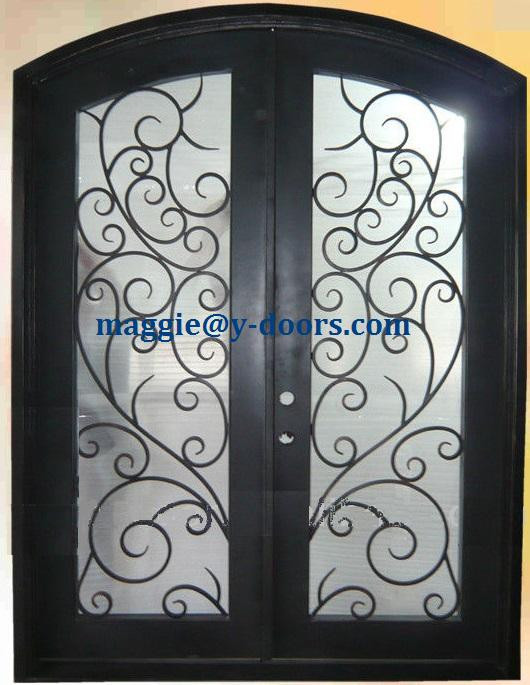 Eyebrow arch top Double entry door wrought iron door steel interior main door
