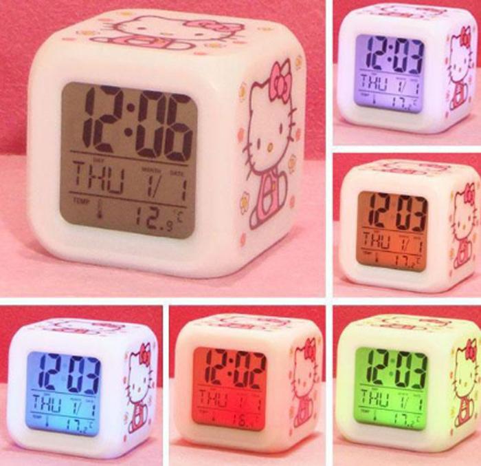 2015 Hello Kitty Led Color Change Digital Led Alarm Clock,Glowing ...