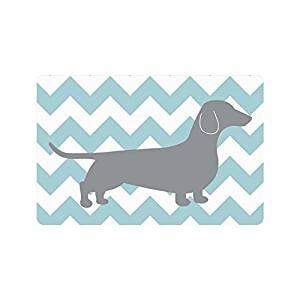 "23.6""(L) x 15.7""(W),3/16"" thickness,Blue White Chevron Zigzag Dachshund Dog Entrance Indoor/Outdoor Floor Mat Doormat"