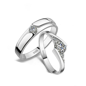 Vogue 925 Sterling Silver Korean style simulate Diamond love ring for couple