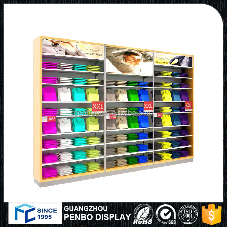Customized retail modern wall wooden furniture clothes display cabinet