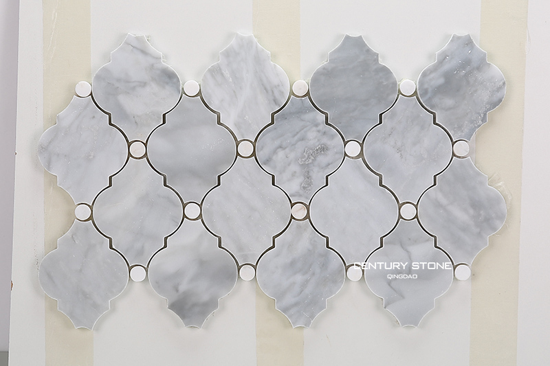 Polished Rhine Gray White Dot Arabesque Marble Mosaic Tile