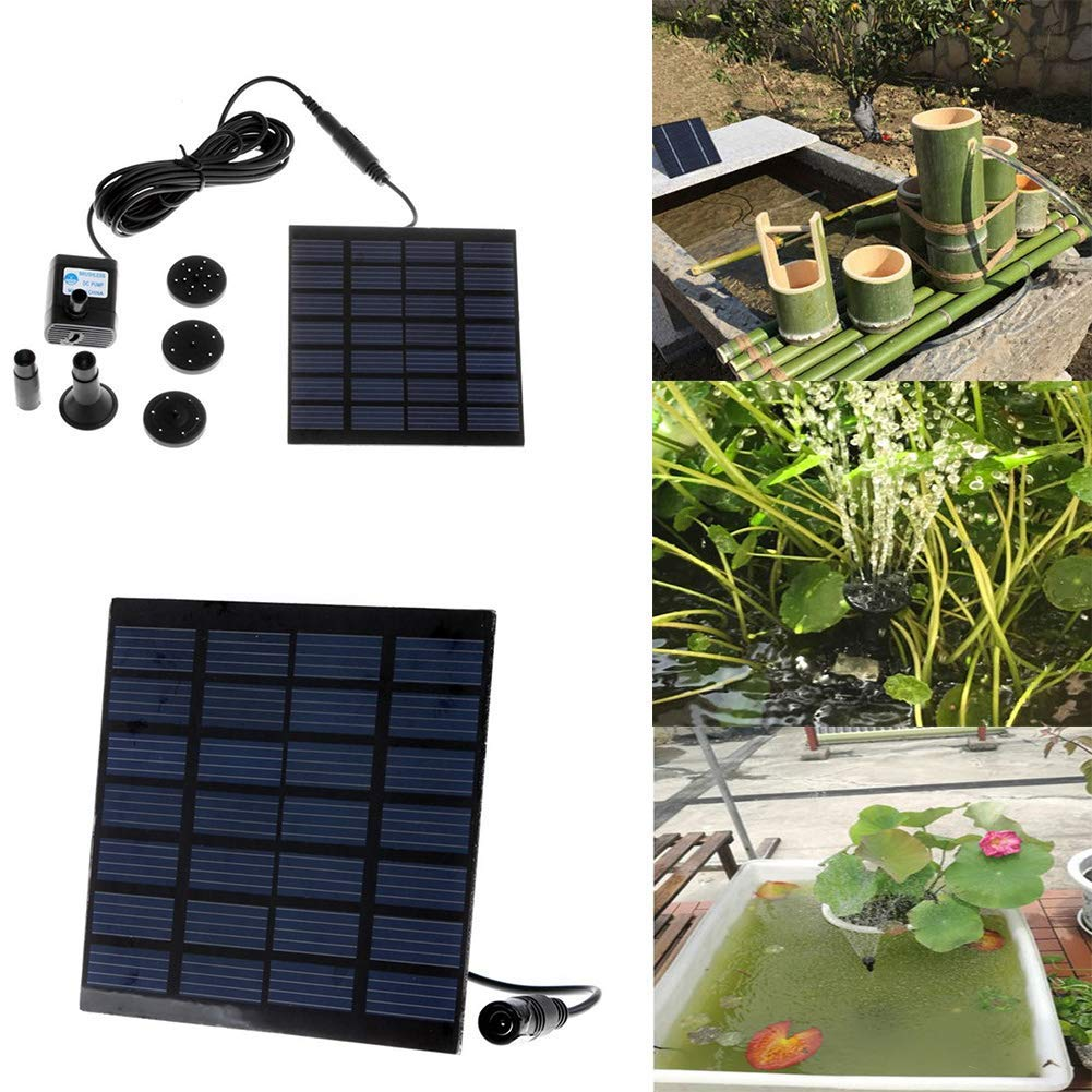 LVOERTUIG Micro Solar Energy Pump,Solar Power Water Pump Kits, Garden Fountain Pool Watering Pond Pump Pool Aquarium Fish Tank with Separate Solar Panel,Water Pump and 3 Water Outlet Caps(as Show)