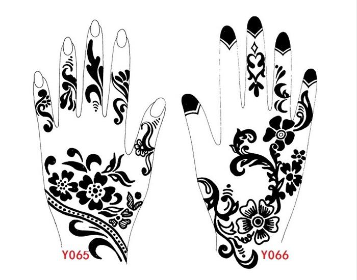 Wrist Henna Tattoo Outlines: Black Henna Tattoo Stencils, Old Lettering Tattoo