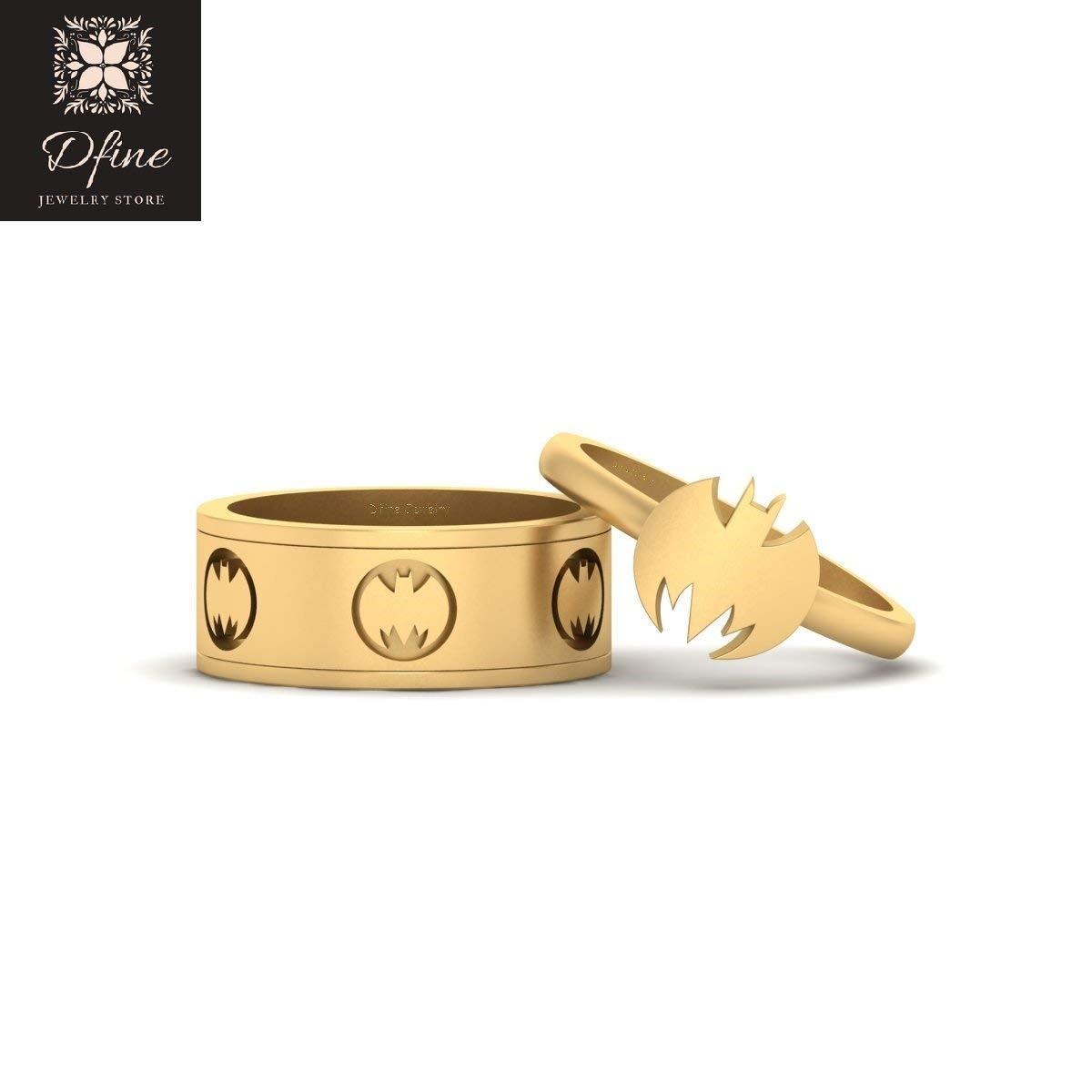 Holy Smokes Fantasy Batman Band Batgirl Ring Matching Wedding Set Solid 10k Yellow Gold Batman Couple Rings