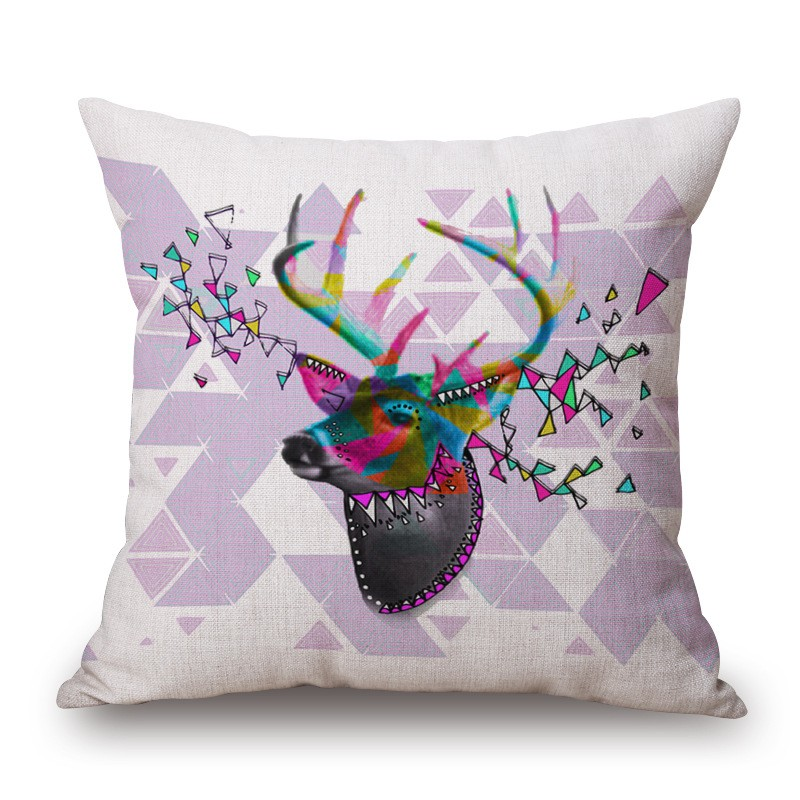 M-0002 Wholesale Picasso 45*45CM Elk Printed Cushion Cover Alibaba Supplier Hotel Linen Pillow Cover