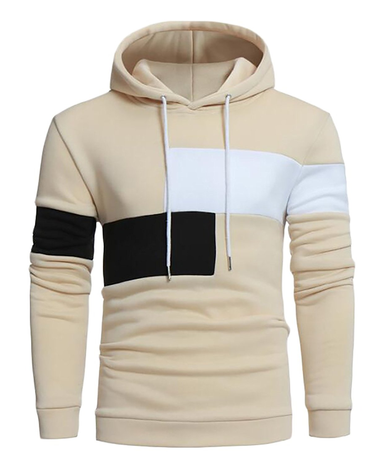 Oberora Mens Fashion Solid Color Athletic Pullover Hooded Sweatshirts