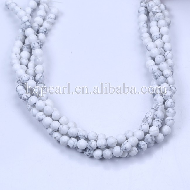 8mm round white turquoise beads strings