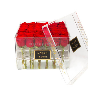 OEM design clear arcylic flower display storage box