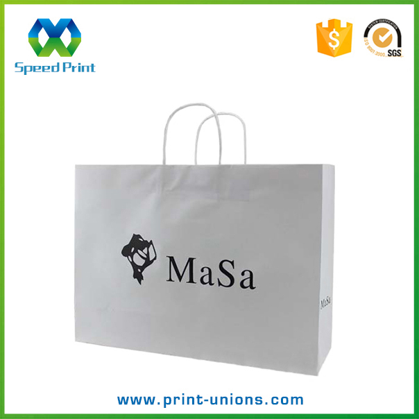 White shopping paper bag with logo print