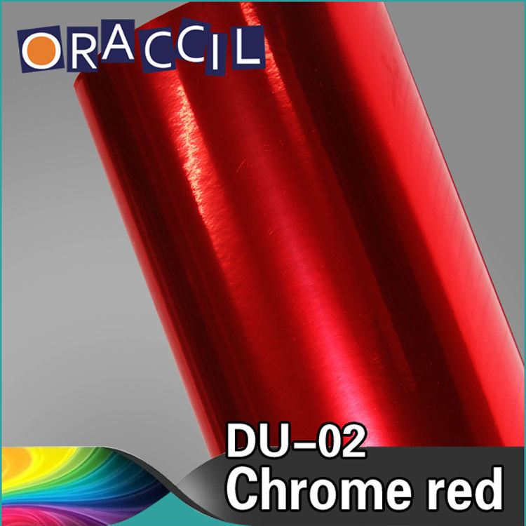 Hot Sales 1.52x20m stretchable car mirror sticker red chrome vinyl film wrap