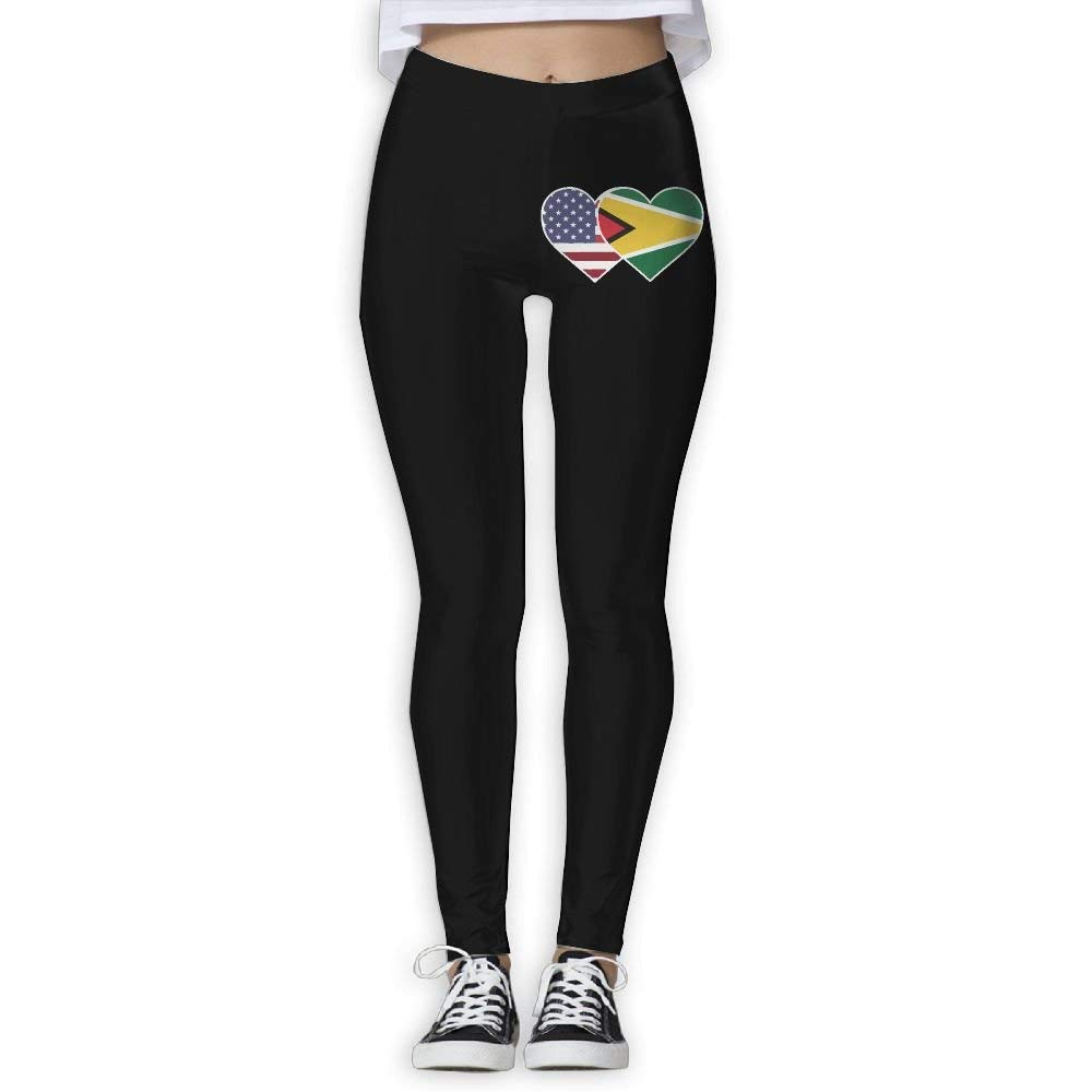 NO2XG Guyana USA Flag Twin Heart Women's Full-Length Workout Leggings Yoga Pants