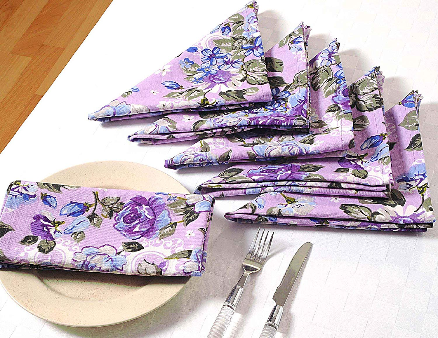 """Floral Cotton Dinner Napkins - 24"""" x 24"""" - Set of 40 Premium Table Linens for the Dining Room - Lavender, Blue and Purple Rose"""