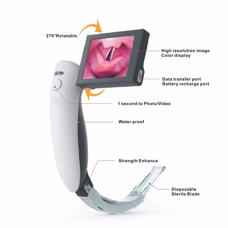 2.4 Inch Rotatable LCD Display, Rusable Operating Laryngoscope With High Resolution Camera