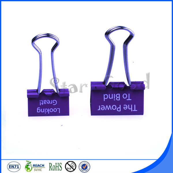 With customer's logo printed 25mm binder clip file clip
