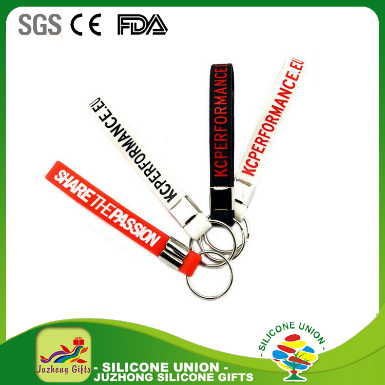 Advertising gifts wristband keychain key ring custom silicone cheap keychains