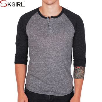 Men s custom logo cotton wholesale fitted plain raglan 3 4 sleeve baseball t  shirt with c801359d1393