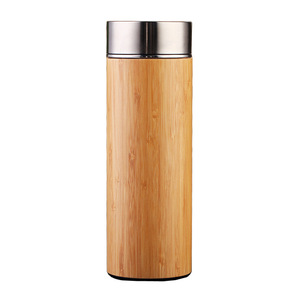 Natural Bamboo vacuum bottle, Promotional stainless steel wood bamboo water bottle, 100% bamboo coffee tea tumbler
