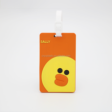Soft rubber pvc airline luggage tag travel suitcase baggage tag kids luggage tag with customized logo or QR code