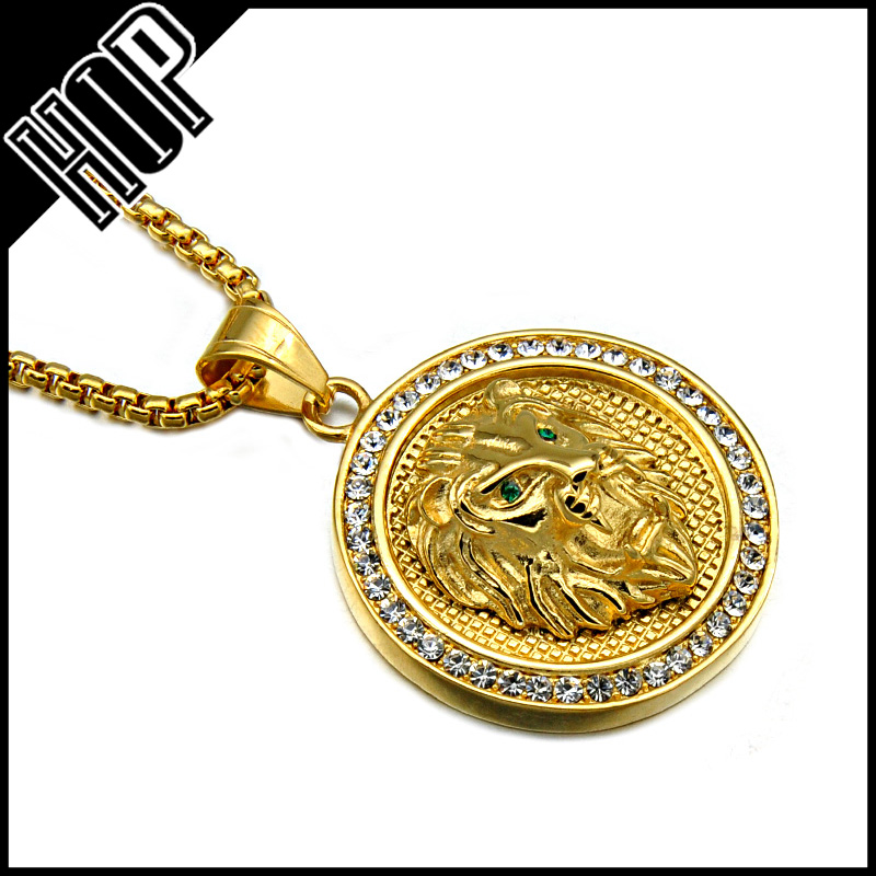 High Quality Gold Plated Stainless Steel Lion Head Pendant Necklace