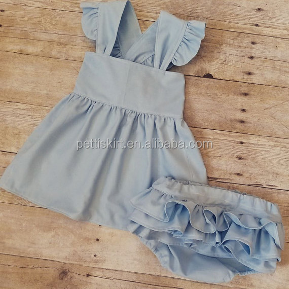 Hot Sale Little Baby Dress And Ruffle Bloomer Set In Woven Cotton