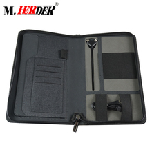 Professionele ritssluiting custom power bank business PU leather portfolio organizer filer houder portfolio man