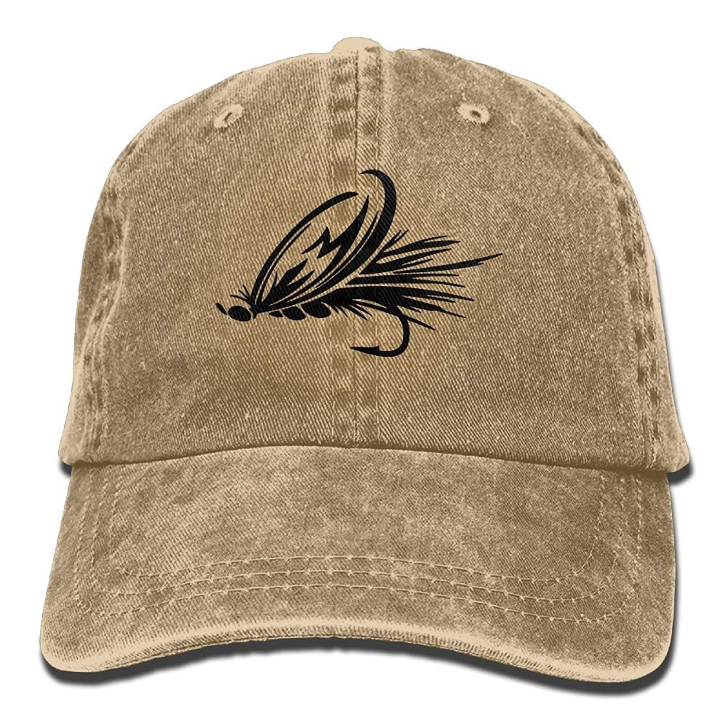760309758f090 Get Quotations · Gorgeously Fly Fishing Lure Denim Baseball Caps Hat  Adjustable Cotton Sport Strap Cap for Men Women