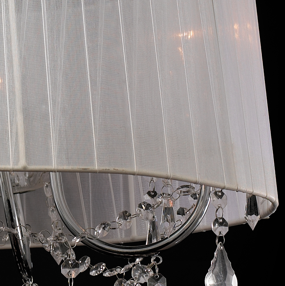White Drum Lamp Shade Modern Crystal Chandeliers Pendant