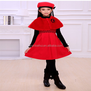 Red girl party dress wool princess long dress three pieces Winter clothes fashion baby girl derss with hat