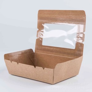 New Design Take Away Fast Food Kraft Paper Packaging Boxes Custom Food Wrapping Paper Box with Transparent