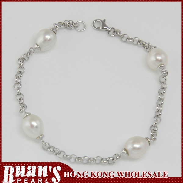 "7.5"" good design rolo chain 925 sterling silver pearl bracelet"