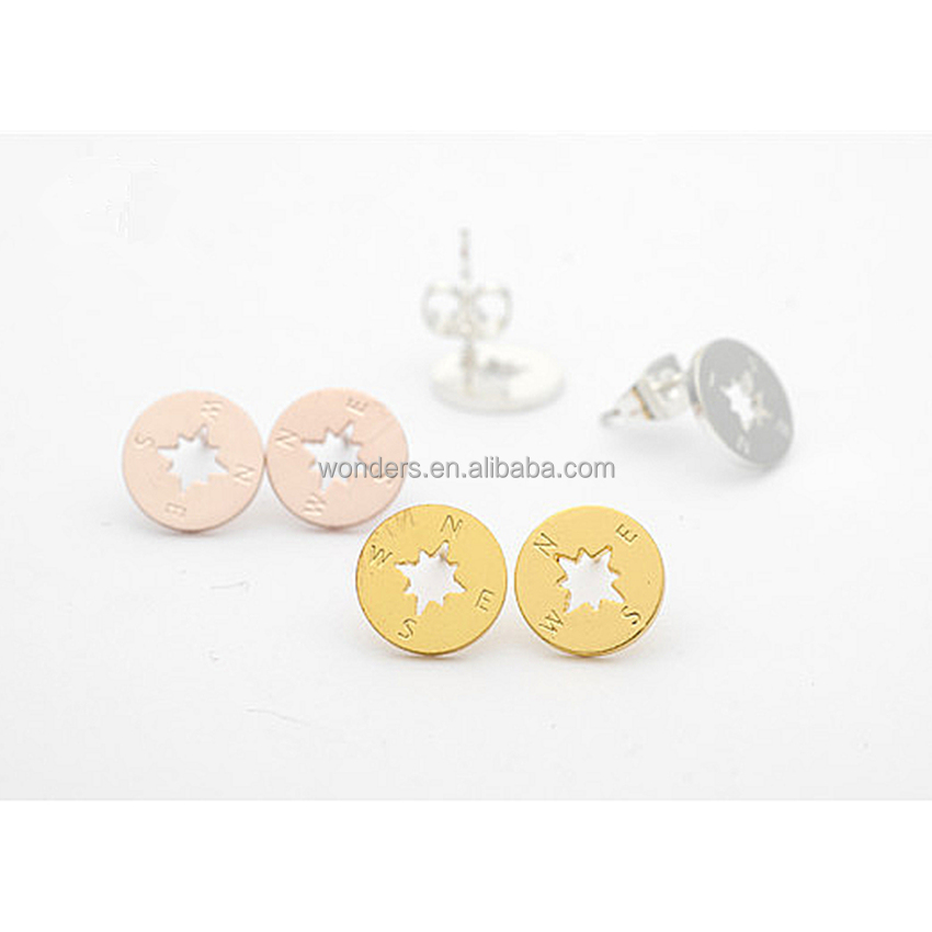 Women fashion earrings stud unique new mould minimalist compass earing jewelry