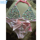 shiny stone bikini lycra fabric for swimwear woman bikini