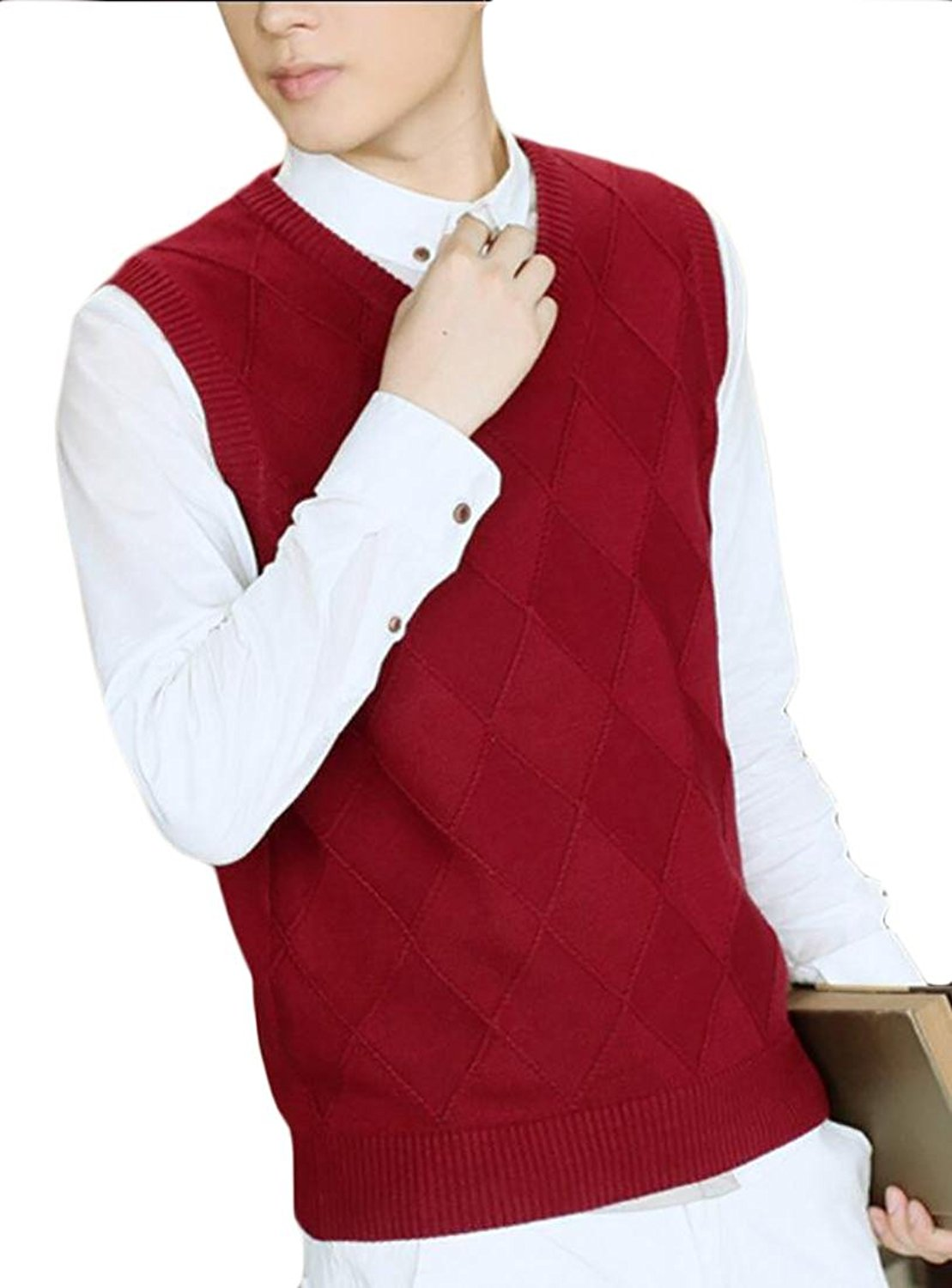 a6bf70cf0 Get Quotations · Jaycargogo Mens Fashion Pure Color V Neck Sleeveless Sweater  Vest